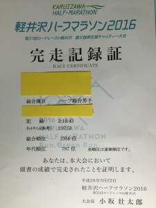 軽井沢ハーフマラソン2016 結果
